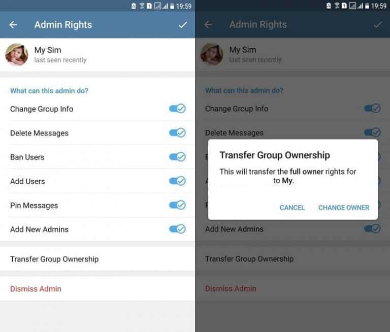 آموزش انتقال مالکیت گروه تلگرام